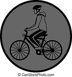 simple grey icon with man riding a bike