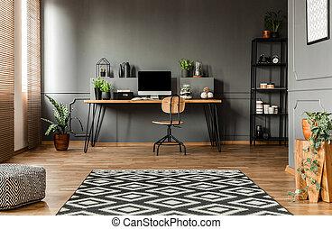 Simple grey workspace interior