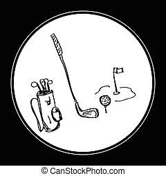 simple, griffonnage, équipement golf
