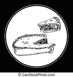 simple, griffonnage, de, a, tarte