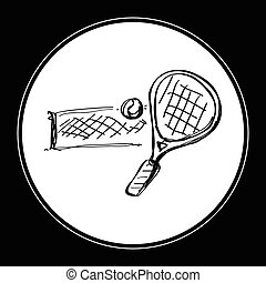 simple, griffonnage, raquette, tennis