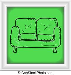 simple, griffonnage, sofa