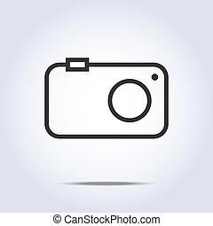 simple, gris, appareil photo, couleur, icône