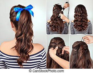hairstyle pony tail on curly hair tutorial - simple ...