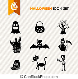 Simple Halloween icon set.