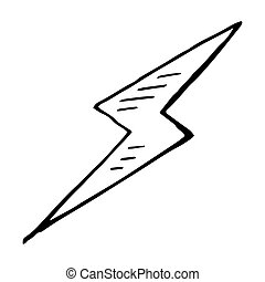 Simple hand drawn doodle of a lightning bolt
