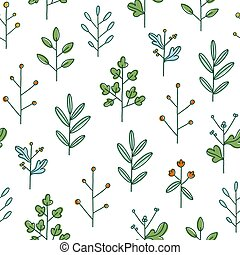 Simple hand drawn floral branches, summer field, vector pattern
