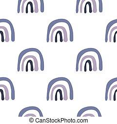Simple hand drawn rainbow doodle vector seamless pattern. Creative scandinavian wallpaer.