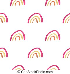 Simple hand drawn rainbow seamless pattern for kids.