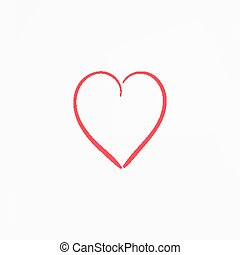 Simple hand drawn red heart