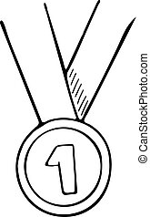 Simple hand drawn, vector doodle of a medal