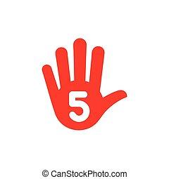 simple hand five finger stop symbol vector