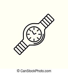 Simple Hand Watch Thin Line Icon Illustration Design
