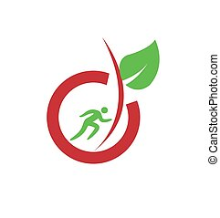 simple healthy and organic food for sport man logo and vector icon
