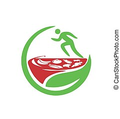 simple healthy food for sport man logo and vector icon