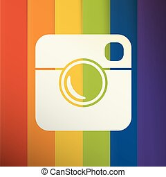 Simple Hipster Photo Icon with Abstract colorful rainbow stripes background.