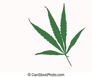 simple, hoja de la marijuana, ilustración