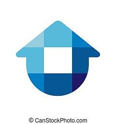 Simple home logo template, blue house icon design, modern real estate symbol - Vector
