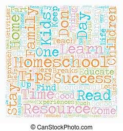 Simple Homeschool Success Tips text background wordcloud...