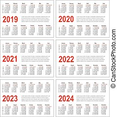 Simple horizontal calendar for 2019, 2020, 2021, 2022, 2023 and 2024 years