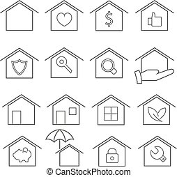 Simple house and real estate line flat icon