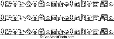 simple house and tree - rough line drawing -