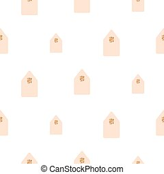 Simple houses shapes light pink on white background.