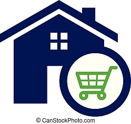 Simple housing and real estate icon shopping chart for web icon or mobile APP