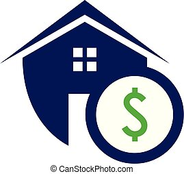 Simple housing and real estate shield icon with dollar symbol for web icon or mobile APP