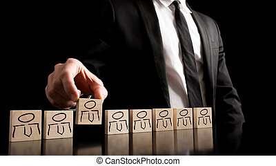 Simple human resource concept - Businessman in black and...