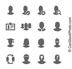 simple, icône, ensemble, apparenté, à, utilisateurs