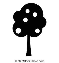 simple, icône, style, arbre fruitier