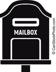 simple, icône, style, boîte lettres, livraison