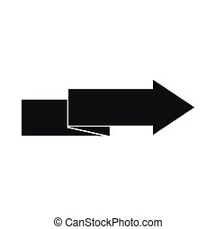 simple, icône, style, flèche droite