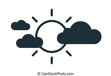 Simple icon in line art style with glowing sun covered by black clouds. Partly sunny weather forecast. Linear flat vector illustration isolated on white background