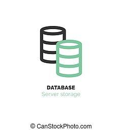 Simple icon of Database flat vector bicolor line design concept