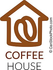 Simple icon of house with coffee bean within.