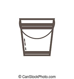 Simple icon of metal bucket. Vector illustration.