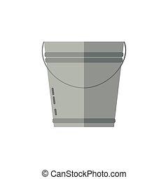 Simple icon of metal bucket. Vector illustration.