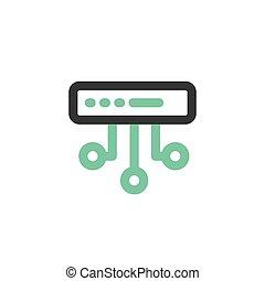 Simple icon of Server flat bicolor line design concept