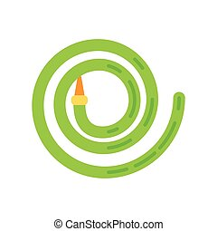 Simple icon of water hose. Vector illustration. Green color.