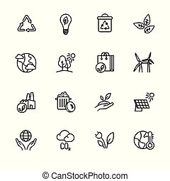 Simple icon set ecology and nature care. Protection and preservation of the environment. Conservation planet natural bio resources. Ecology, nature, energy, environment and recycle icons