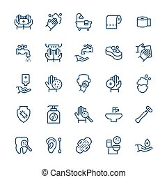 Simple icon set of hygiene items in thin line style. Vector symbols.