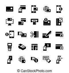 Simple icon set of pay items in flat style. Vector symbols.