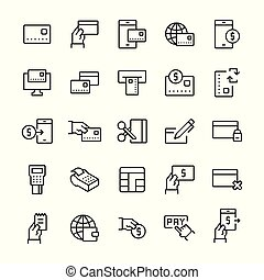Simple icon set of pay items in line style. Vector symbols.
