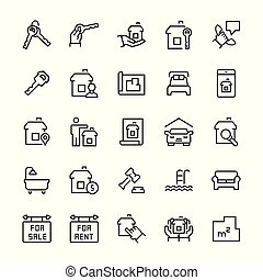 Simple icon set of real estate items in thin line style. Vector symbols.
