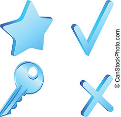 Set of 3d simple icons. Vector illustration.