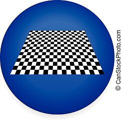 Simple Icon with Checkered Plane - Checkerboard, Chess Board...