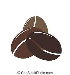Simple icon with three coffee bean. Flat Design