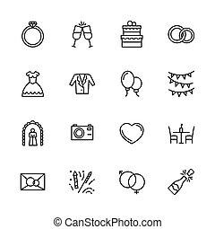 simple, icono, conjunto, compromiso, y, boda, en, church., contiene, tal, símbolos, amor, anillo, novia, vestido de la boda, y, novio, traje, foto, cámara video, saludo, champaña, invitación, celebración, y, more.